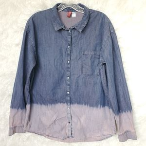 DIVIDED Ombre Dip Dye Snap Front Top 8